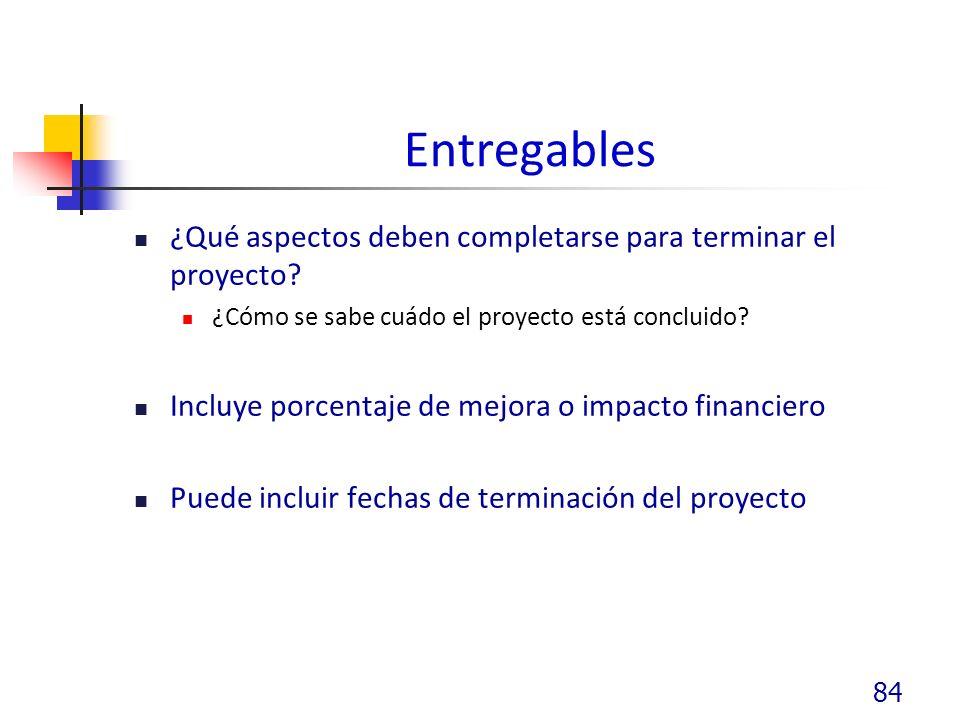 Entregables ¿Qué aspectos deben completarse para terminar el proyecto