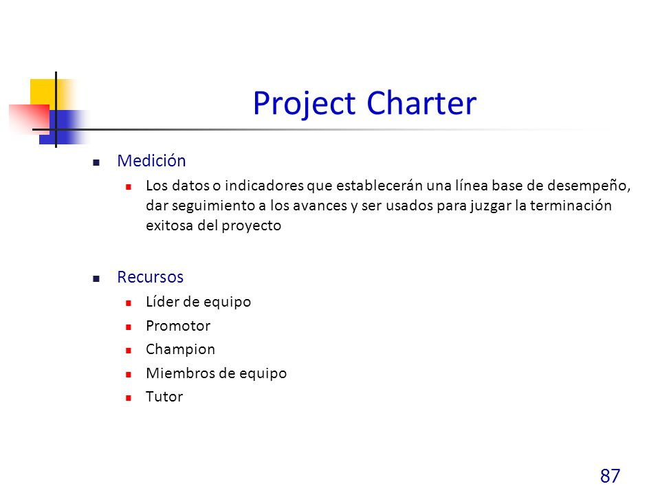 Project Charter Medición Recursos