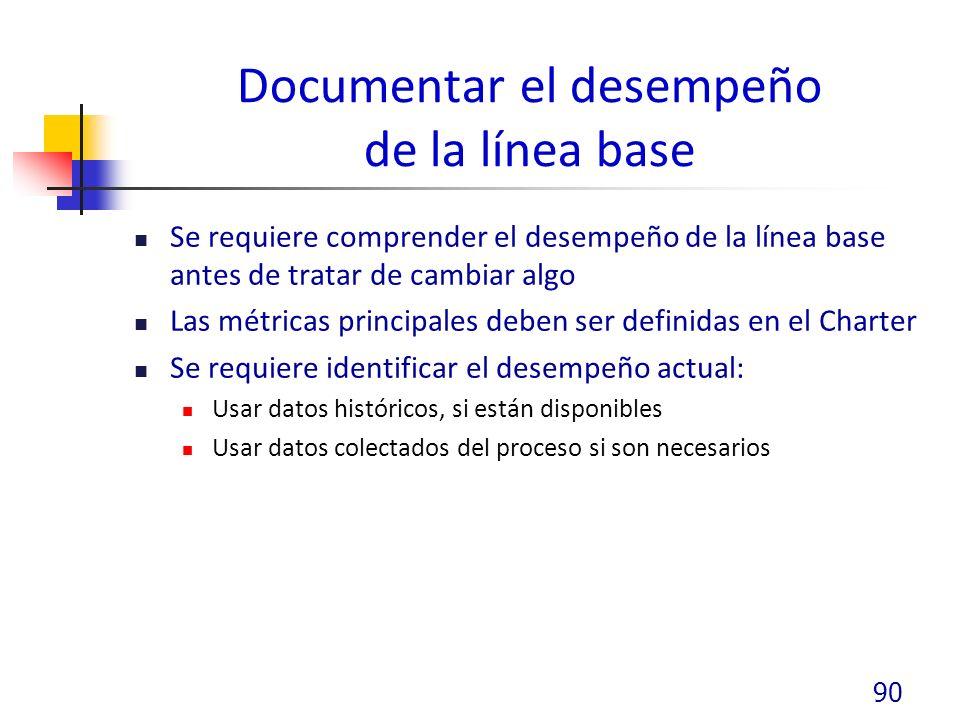 Documentar el desempeño de la línea base