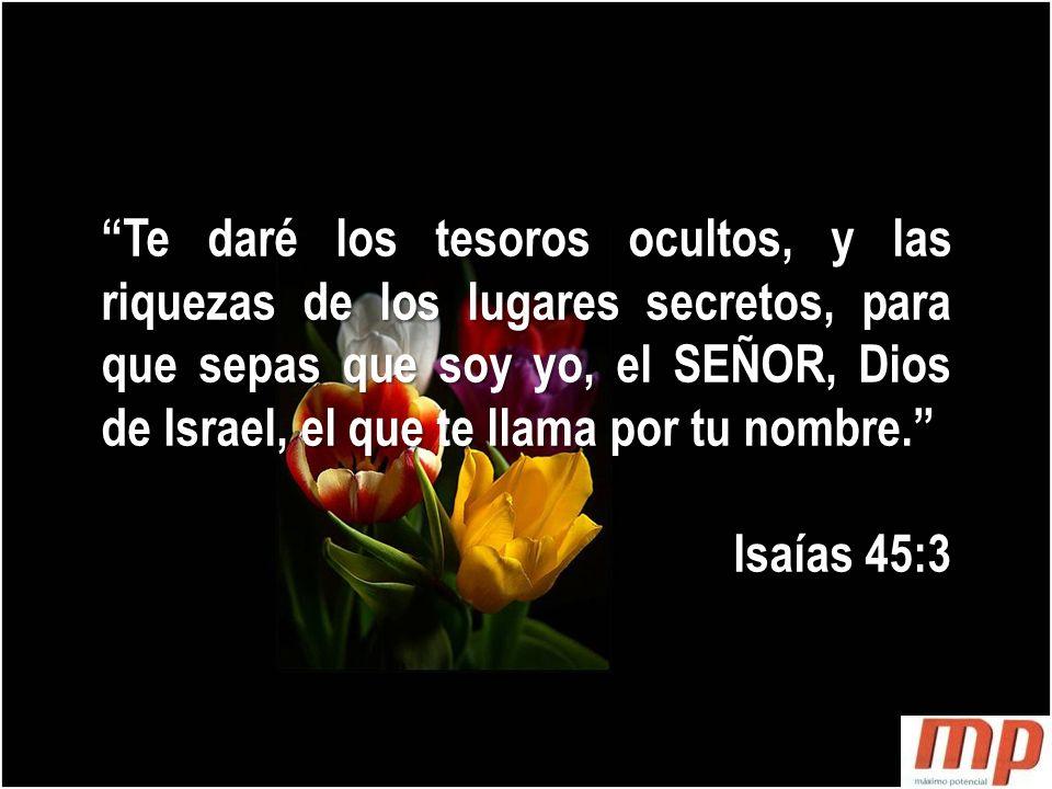 Te daré los tesoros ocultos, y las riquezas de los lugares secretos, para que sepas que soy yo, el SEÑOR, Dios de Israel, el que te llama por tu nombre.