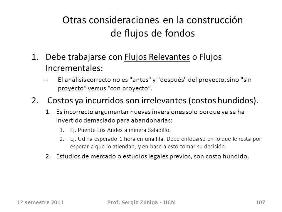 Otras consideraciones en la construcción de flujos de fondos