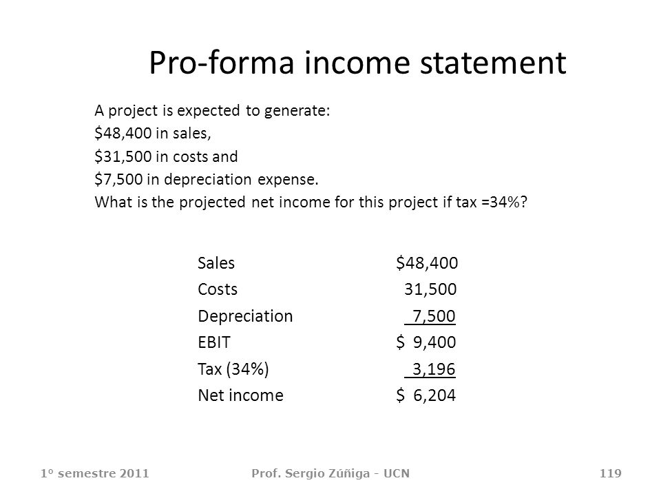 Pro-forma income statement