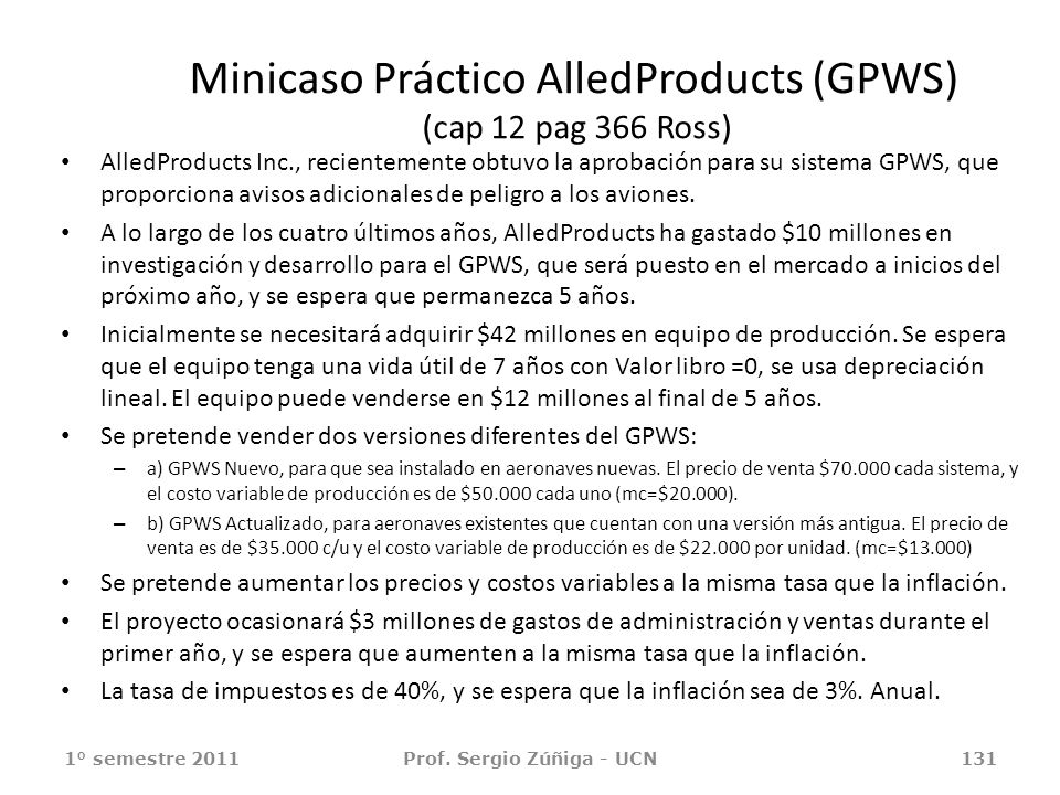 Minicaso Práctico AlledProducts (GPWS) (cap 12 pag 366 Ross)