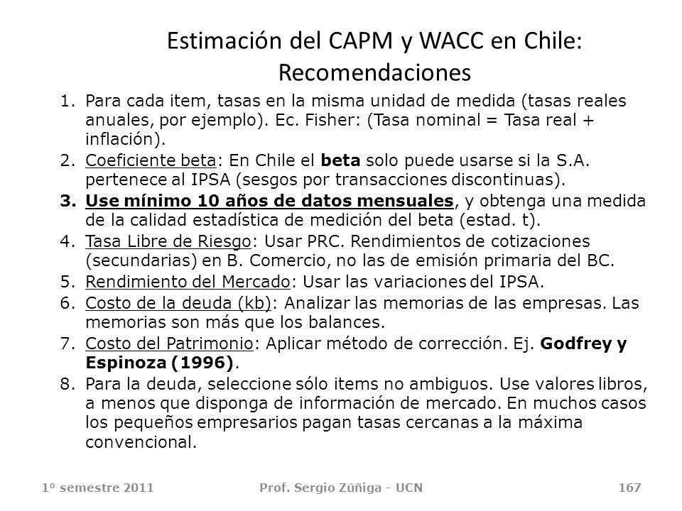 Estimación del CAPM y WACC en Chile: Recomendaciones