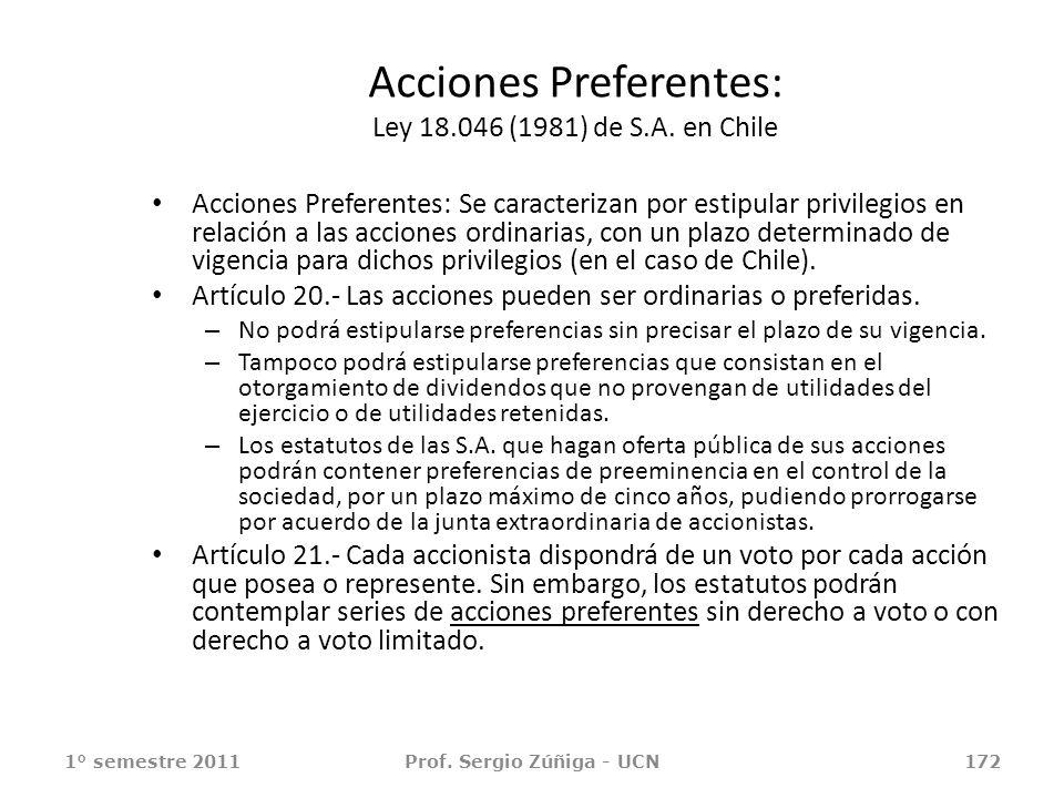 Acciones Preferentes: Ley 18.046 (1981) de S.A. en Chile