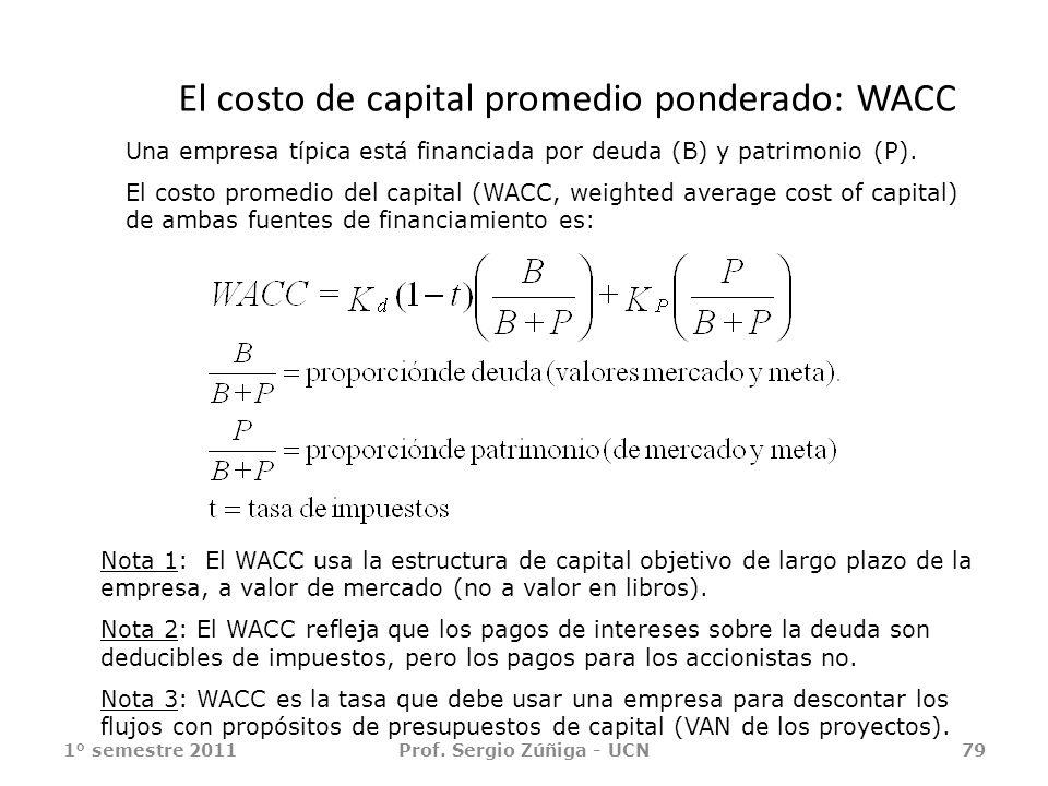 El costo de capital promedio ponderado: WACC