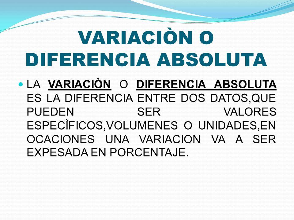 VARIACIÒN O DIFERENCIA ABSOLUTA