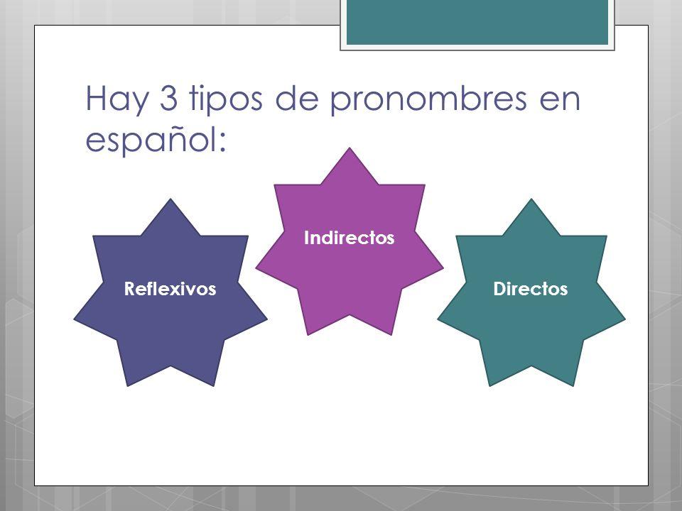 Hay 3 tipos de pronombres en español: