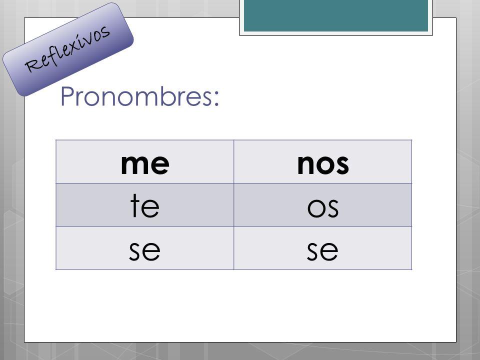 Reflexivos Pronombres: me nos te os se