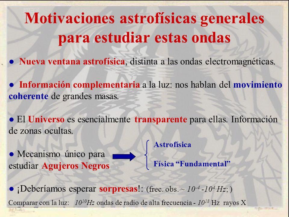 Motivaciones astrofísicas generales para estudiar estas ondas