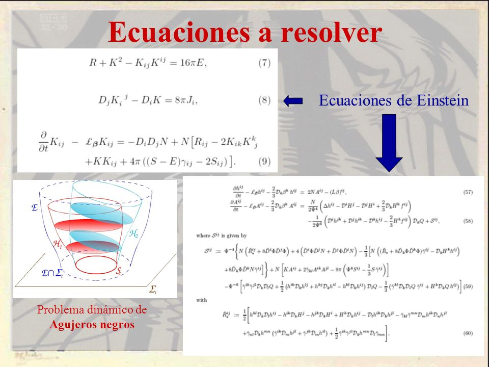 Ecuaciones a resolver Ecuaciones de Einstein Problema dinámico de