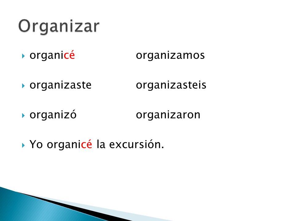 Organizar organicé organizamos organizaste organizasteis