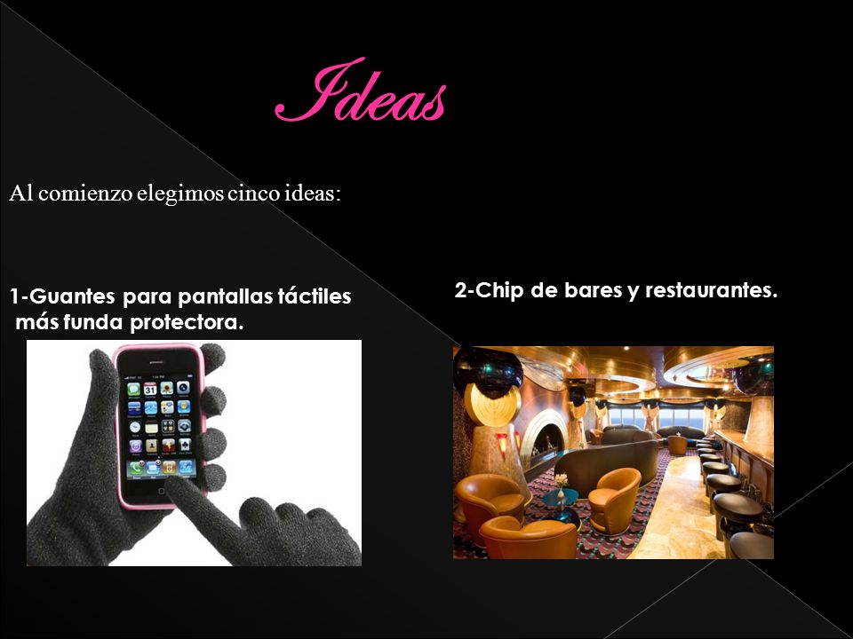 Ideas Al comienzo elegimos cinco ideas: