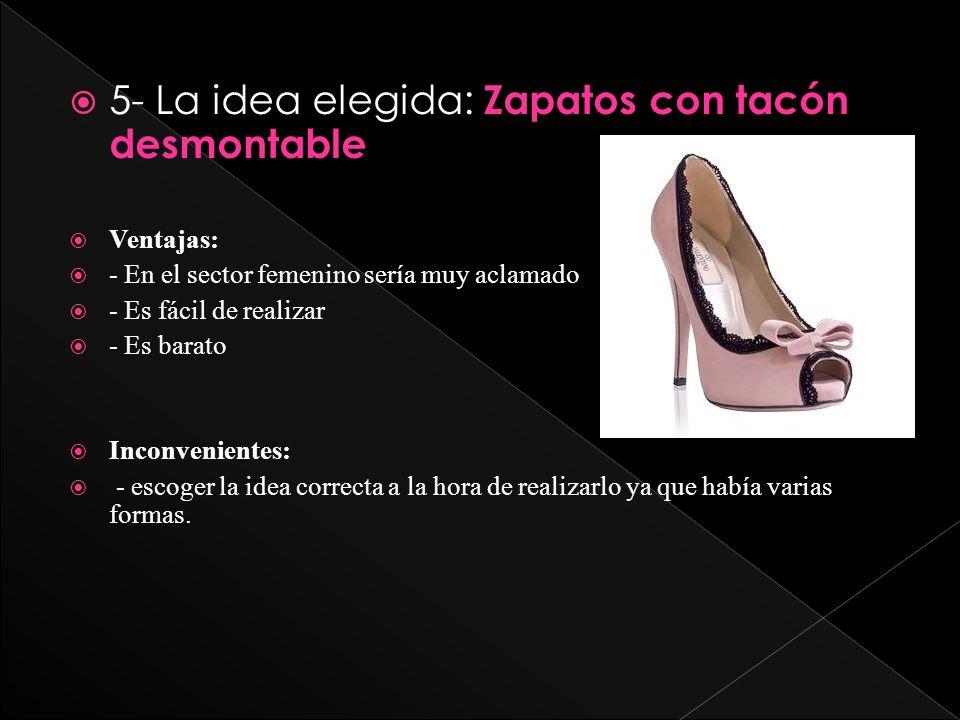 5- La idea elegida: Zapatos con tacón desmontable