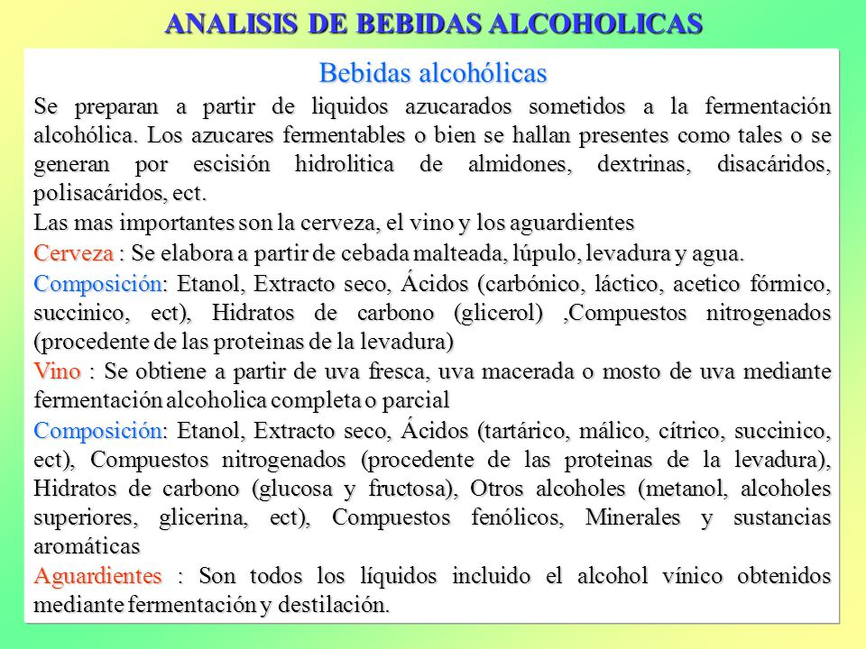 ANALISIS DE BEBIDAS ALCOHOLICAS