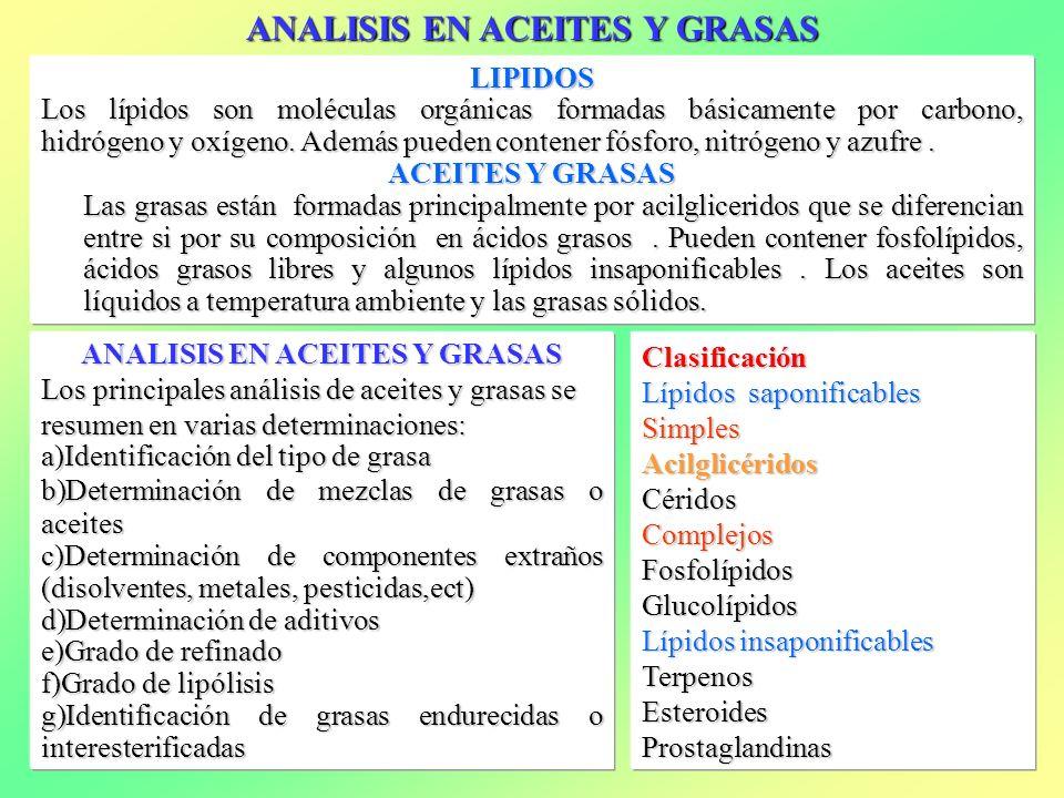 ANALISIS EN ACEITES Y GRASAS ANALISIS EN ACEITES Y GRASAS