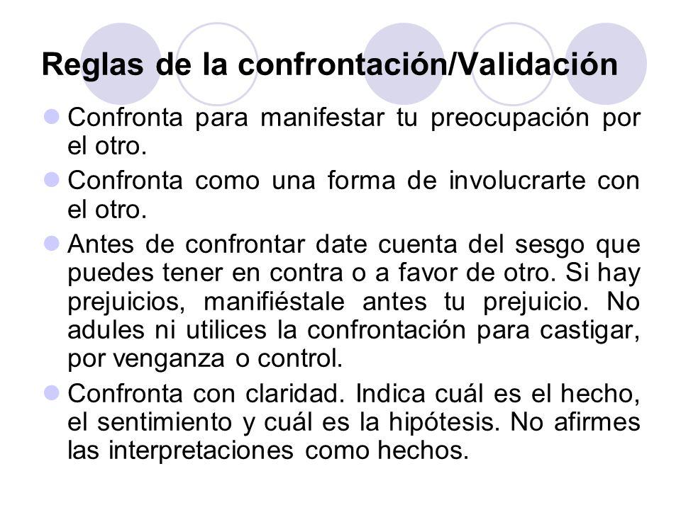 Reglas de la confrontación/Validación