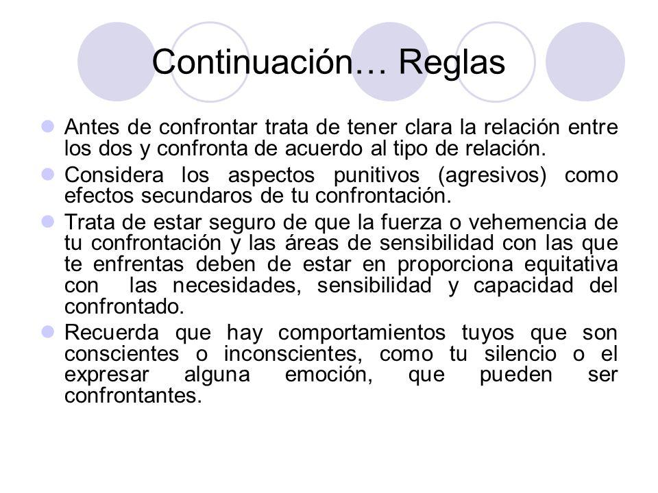 Continuación… Reglas Antes de confrontar trata de tener clara la relación entre los dos y confronta de acuerdo al tipo de relación.