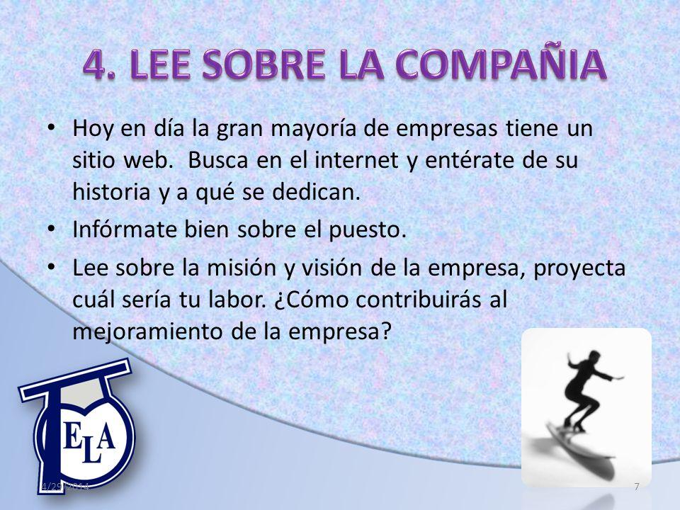 4. LEE SOBRE LA COMPAÑIA