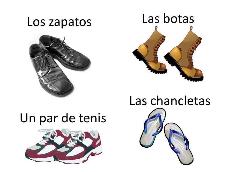 Las botas Los zapatos Las chancletas Un par de tenis