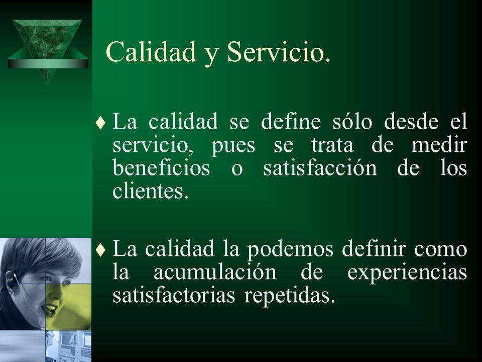 Calidad y Servicio. La calidad se define sólo desde el servicio, pues se trata de medir beneficios o satisfacción de los clientes.