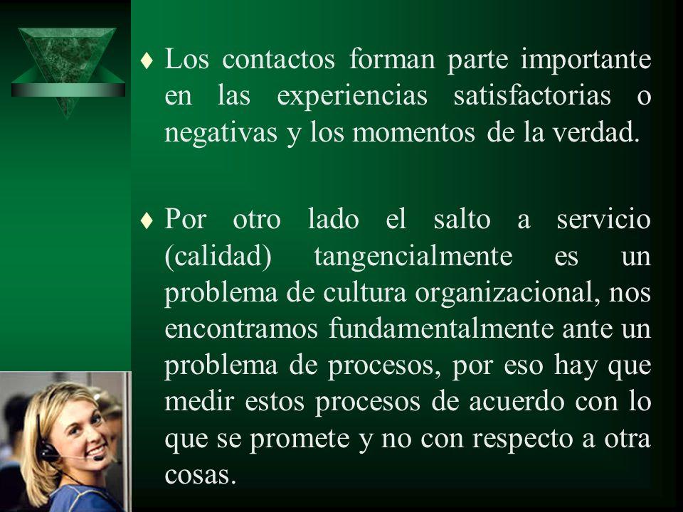 Los contactos forman parte importante en las experiencias satisfactorias o negativas y los momentos de la verdad.