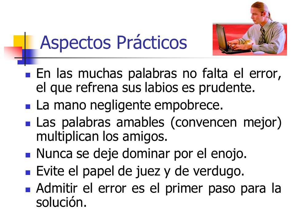 Aspectos Prácticos En las muchas palabras no falta el error, el que refrena sus labios es prudente.