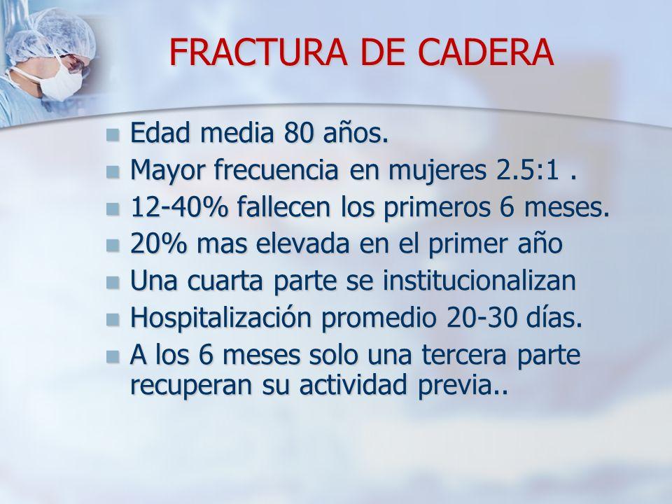 FRACTURA DE CADERA Edad media 80 años.