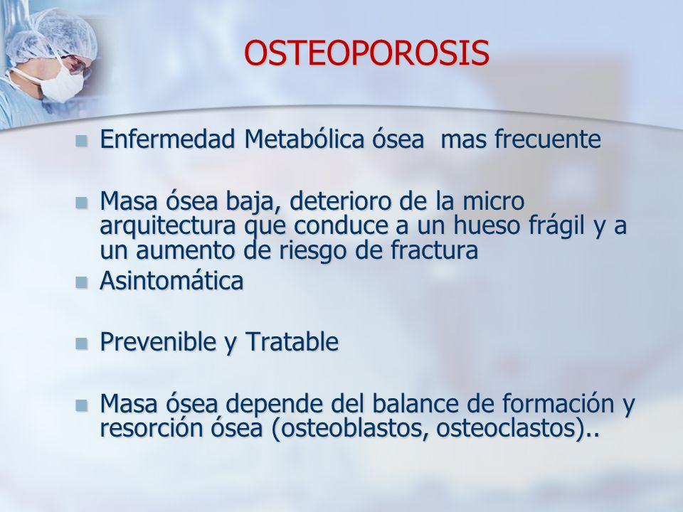 OSTEOPOROSIS Enfermedad Metabólica ósea mas frecuente