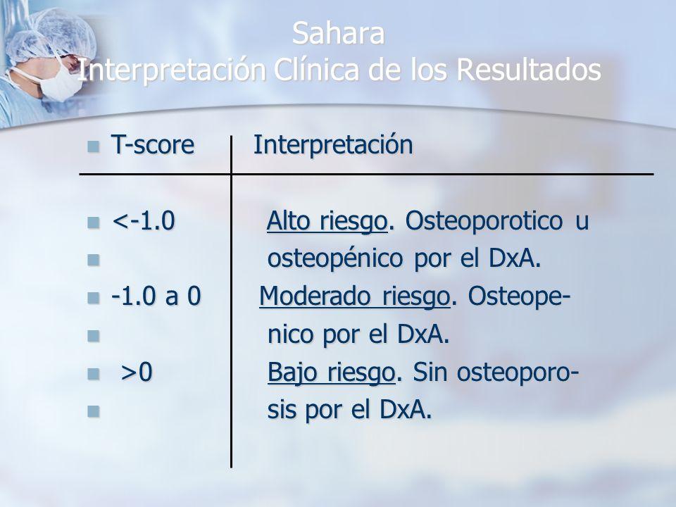 Sahara Interpretación Clínica de los Resultados