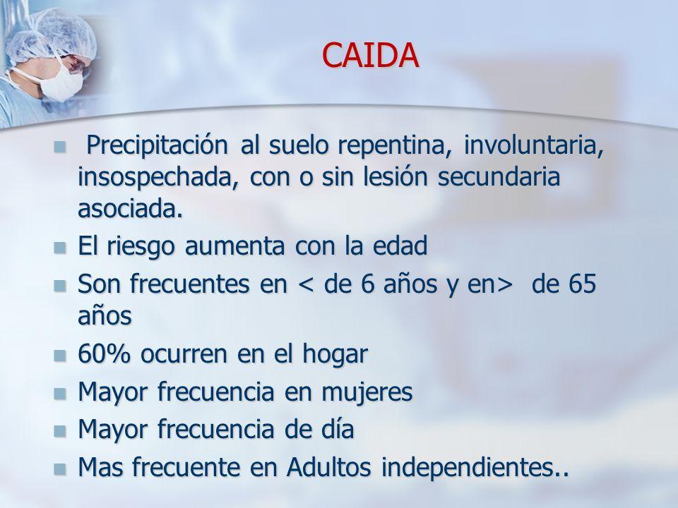 CAIDA Precipitación al suelo repentina, involuntaria, insospechada, con o sin lesión secundaria asociada.