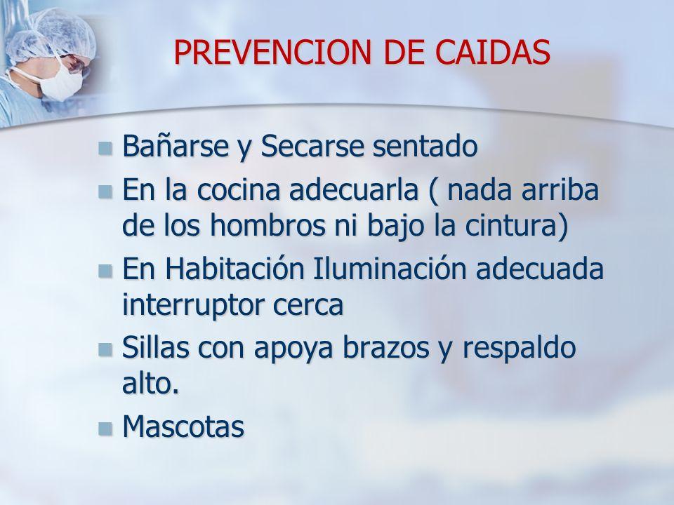PREVENCION DE CAIDAS Bañarse y Secarse sentado