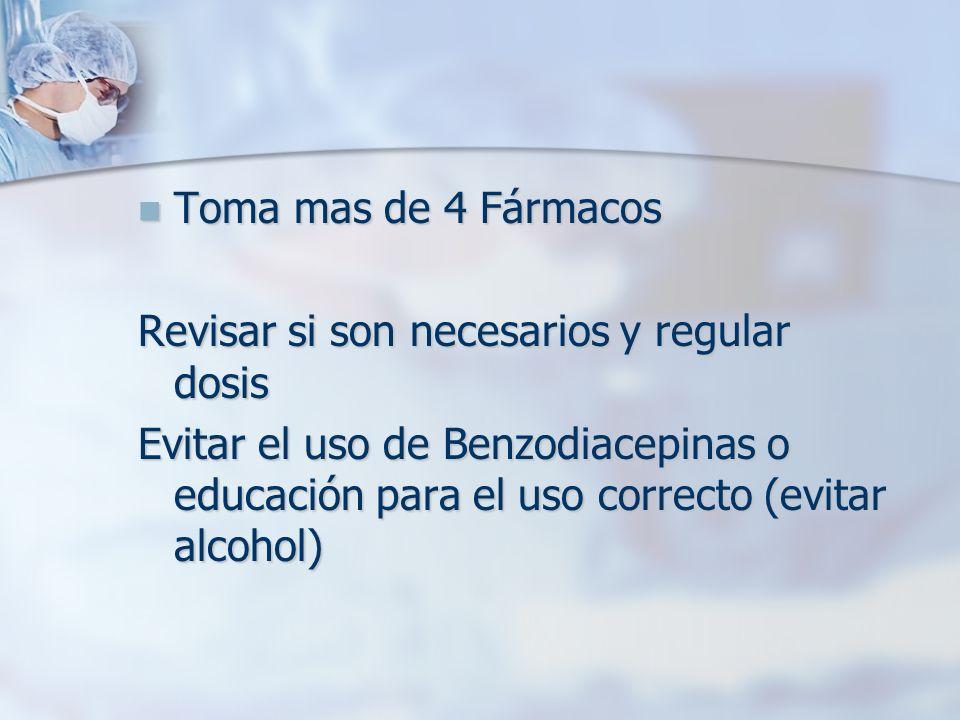 Toma mas de 4 Fármacos Revisar si son necesarios y regular dosis.