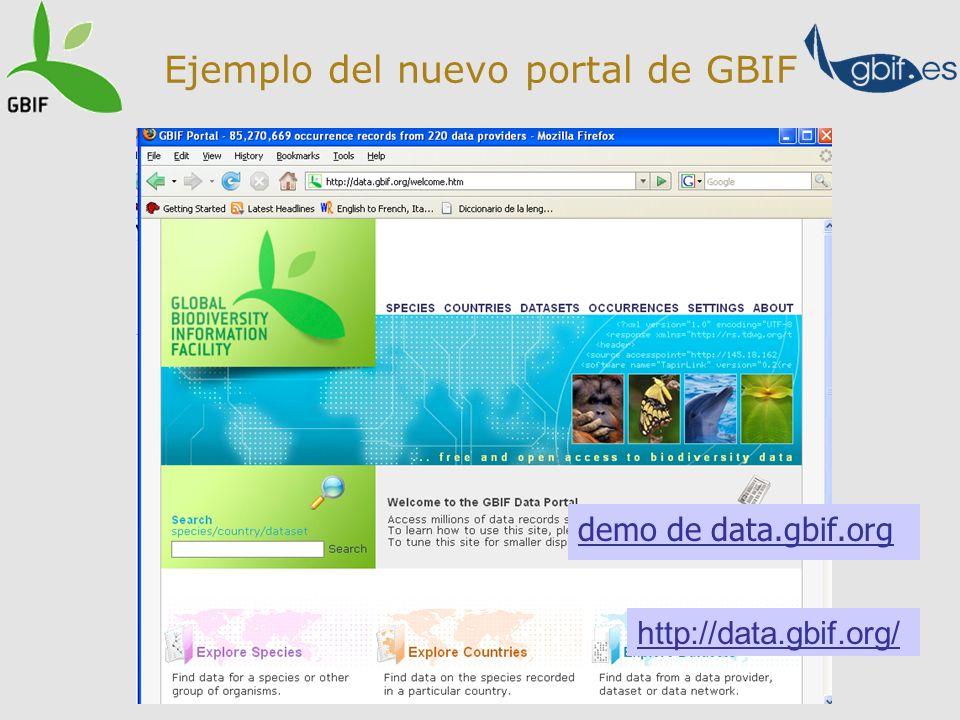 Ejemplo del nuevo portal de GBIF