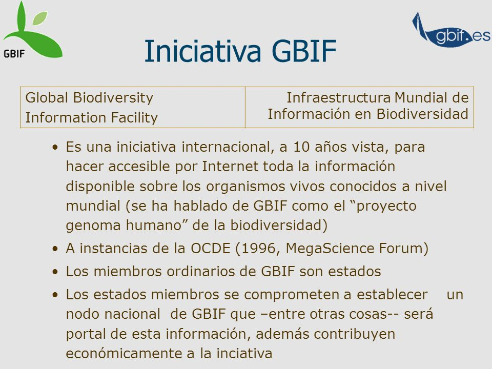 Iniciativa GBIF Global Biodiversity Information Facility
