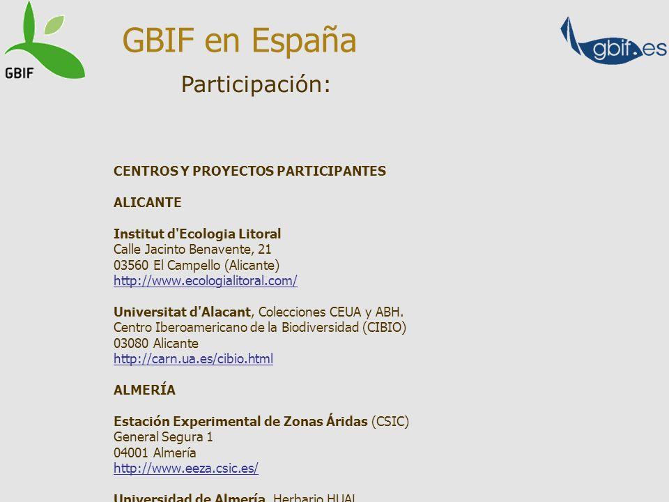 GBIF en España Participación: CENTROS Y PROYECTOS PARTICIPANTES