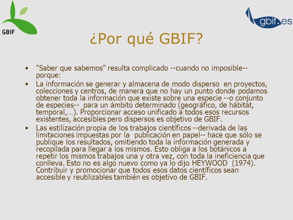 ¿Por qué GBIF Saber que sabemos resulta complicado --cuando no imposible-- porque: