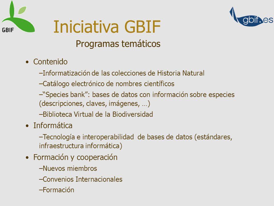 Iniciativa GBIF Programas temáticos Contenido Informática