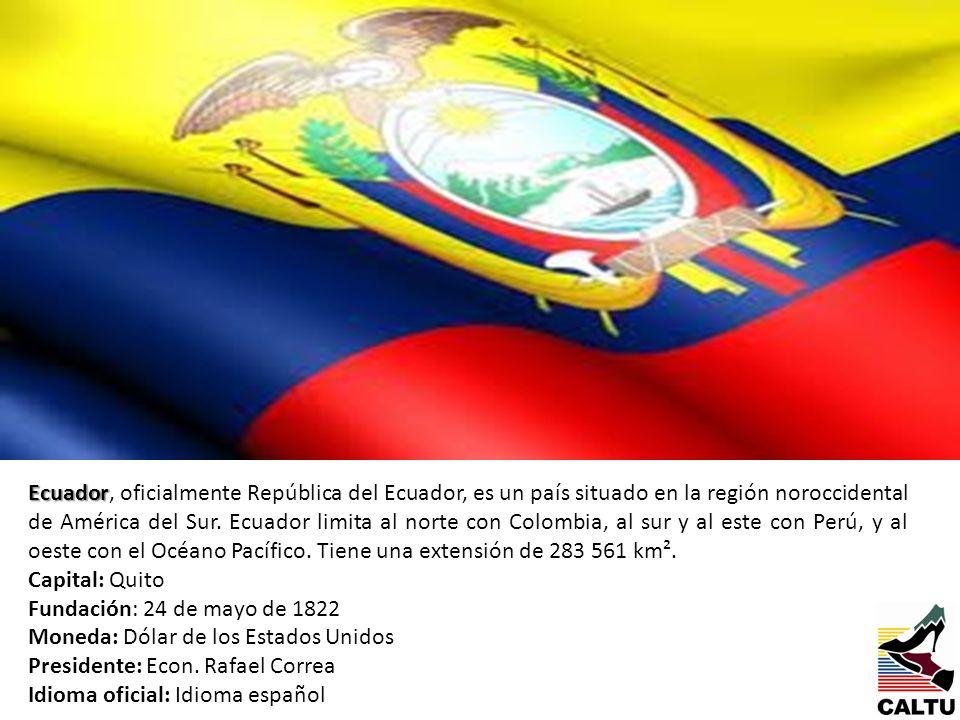 Ecuador, oficialmente República del Ecuador, es un país situado en la región noroccidental de América del Sur. Ecuador limita al norte con Colombia, al sur y al este con Perú, y al oeste con el Océano Pacífico. Tiene una extensión de 283 561 km².