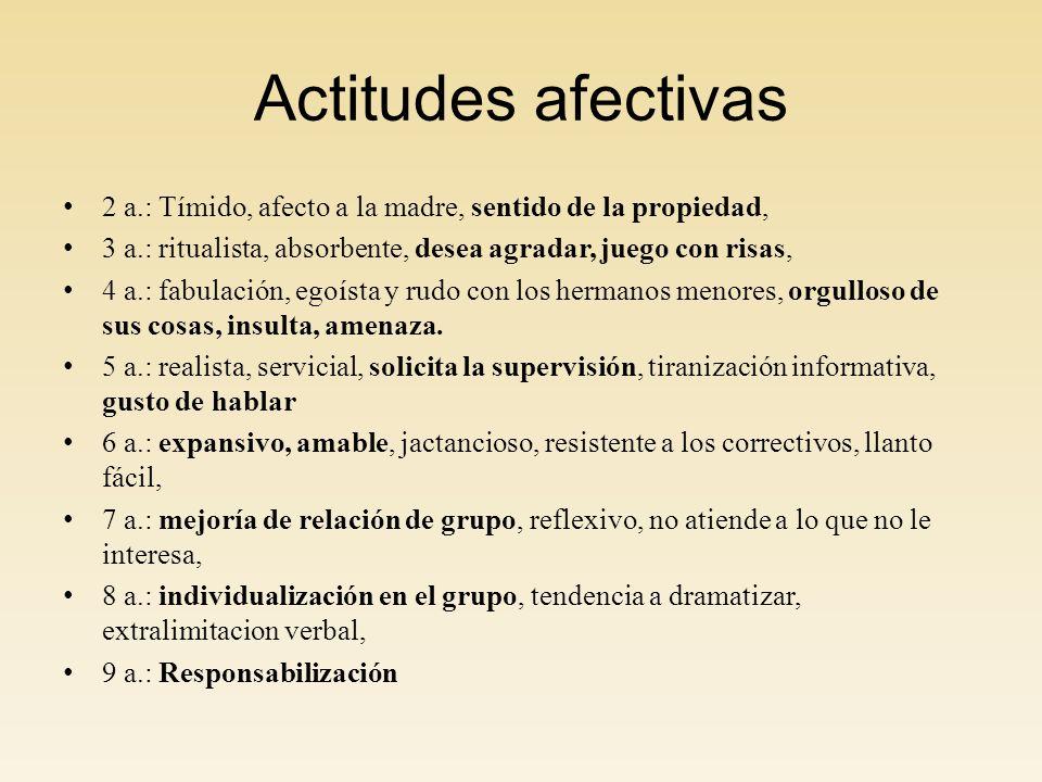 Actitudes afectivas 2 a.: Tímido, afecto a la madre, sentido de la propiedad, 3 a.: ritualista, absorbente, desea agradar, juego con risas,