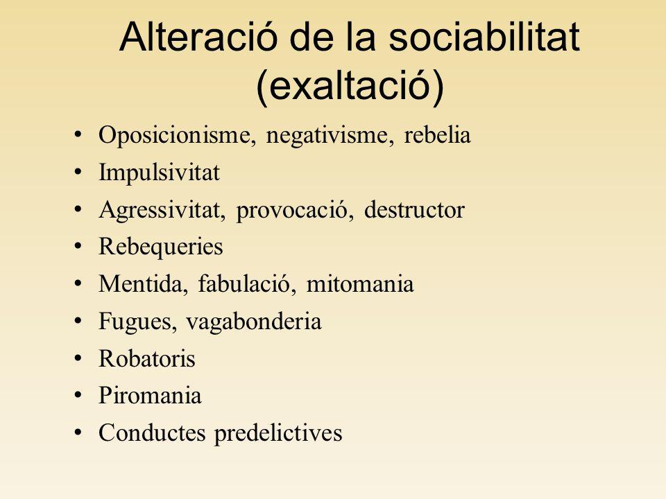 Alteració de la sociabilitat (exaltació)