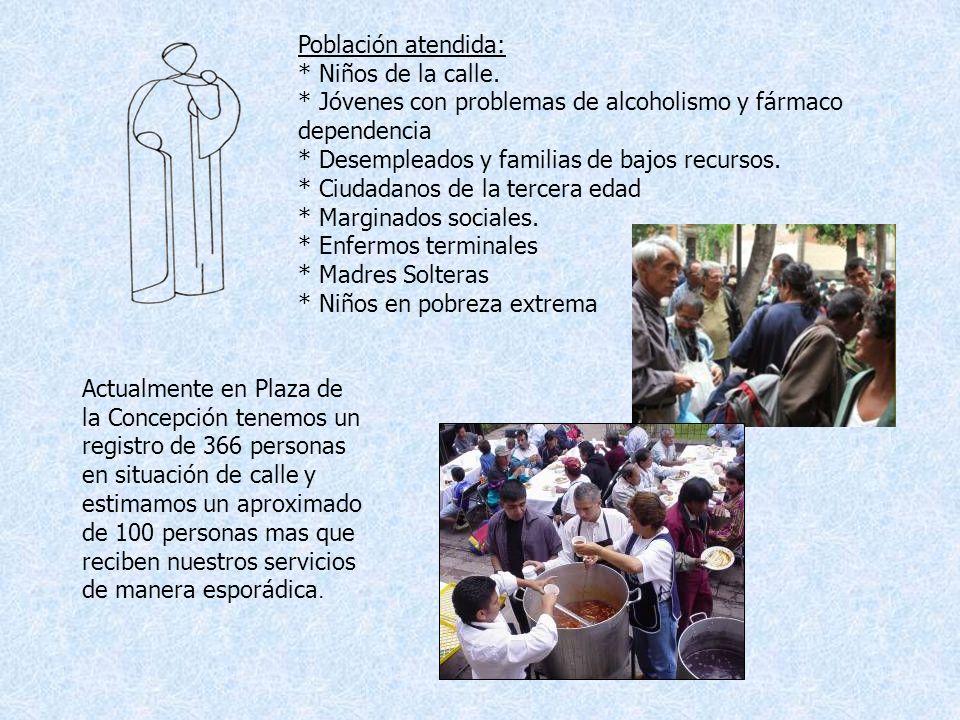 Población atendida: * Niños de la calle. * Jóvenes con problemas de alcoholismo y fármaco dependencia.