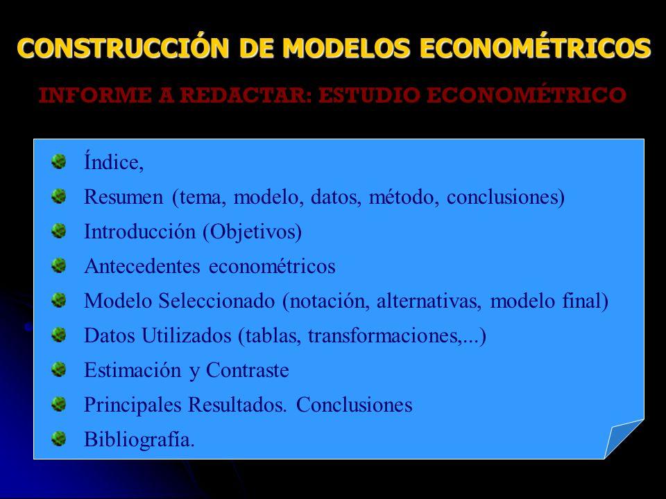 CONSTRUCCIÓN DE MODELOS ECONOMÉTRICOS
