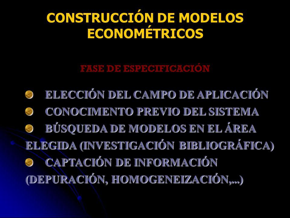 CONSTRUCCIÓN DE MODELOS ECONOMÉTRICOS FASE DE ESPECIFICACIÓN