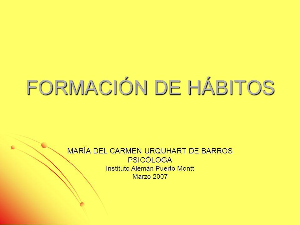 FORMACIÓN DE HÁBITOS MARÍA DEL CARMEN URQUHART DE BARROS PSICÓLOGA
