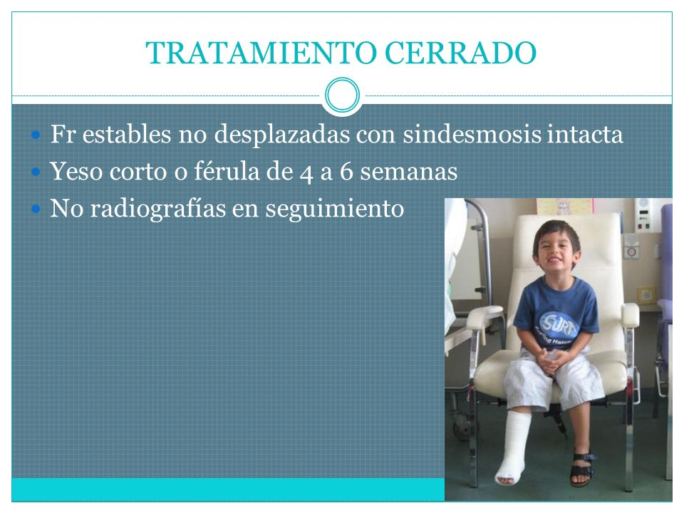 TRATAMIENTO CERRADO Fr estables no desplazadas con sindesmosis intacta