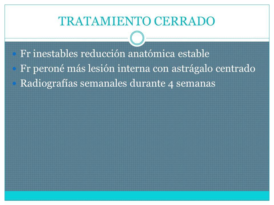 TRATAMIENTO CERRADO Fr inestables reducción anatómica estable