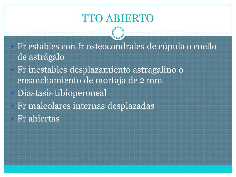 TTO ABIERTO Fr estables con fr osteocondrales de cúpula o cuello de astrágalo.