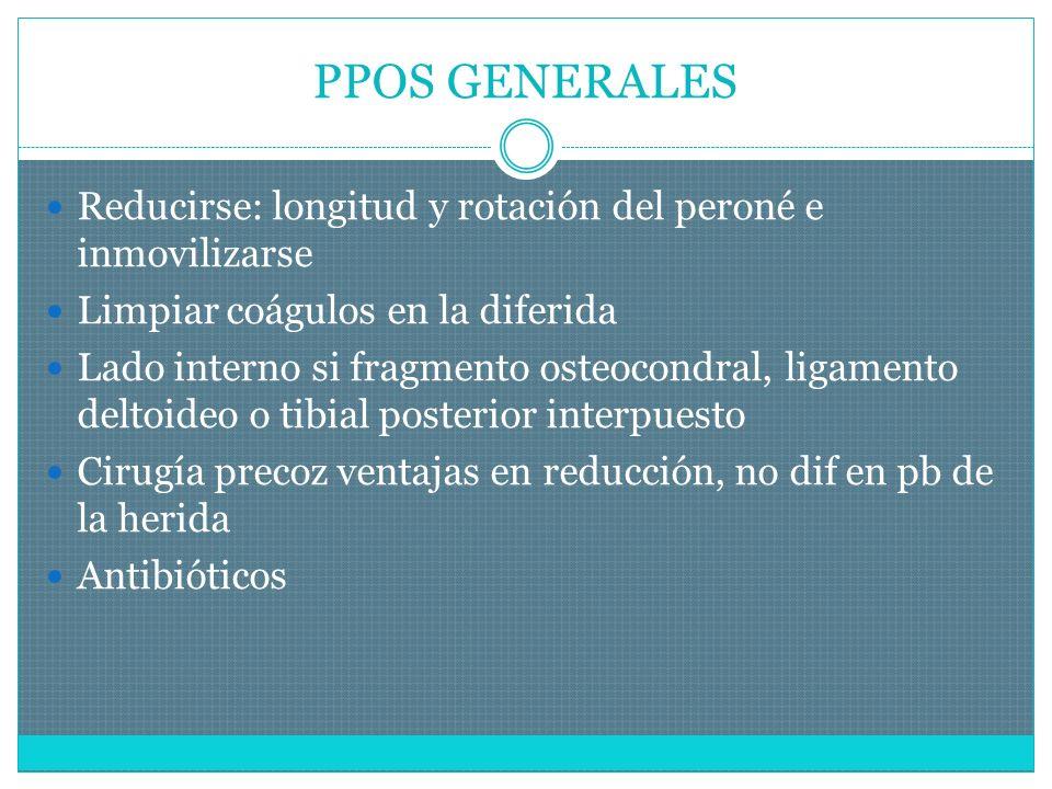 PPOS GENERALES Reducirse: longitud y rotación del peroné e inmovilizarse. Limpiar coágulos en la diferida.