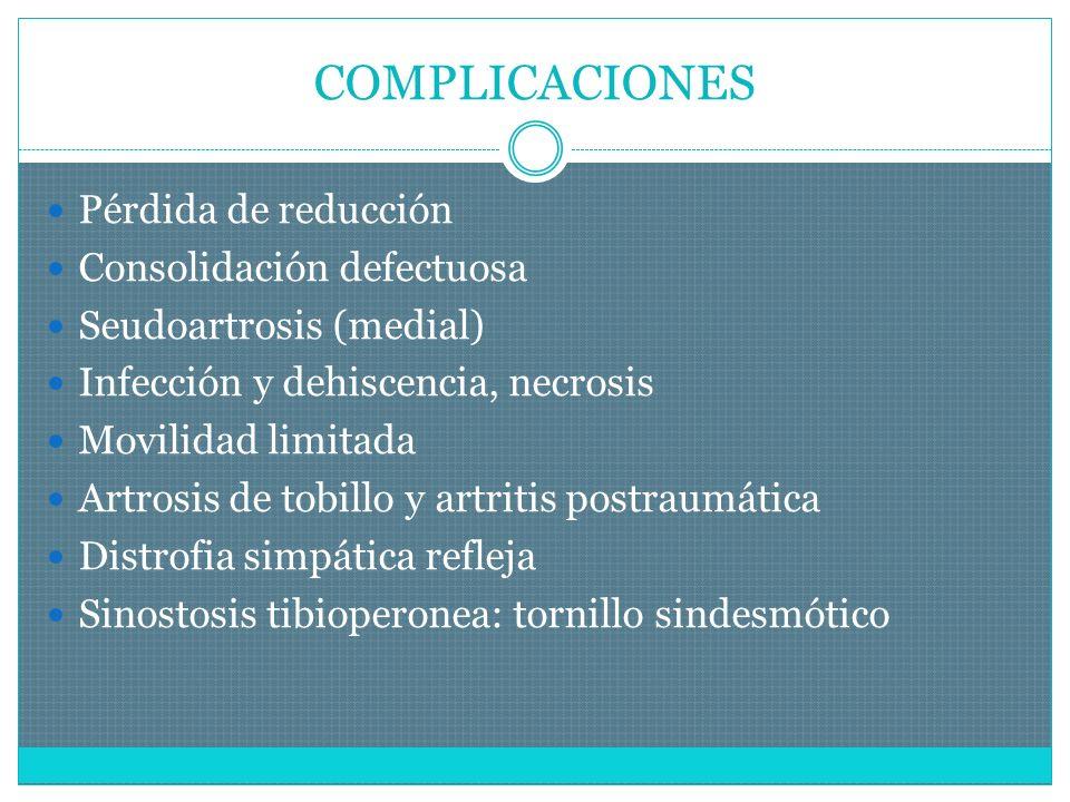 COMPLICACIONES Pérdida de reducción Consolidación defectuosa